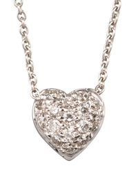 Roberto Coin | White Pave Heart Necklace | Lyst