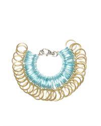 Kirsty Ward Blue Alu Loops & Brass Rings Bracelet