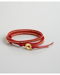 Chan Luu - Red Leather And Gold Nugget Beaded Leather Wrap Bracelet - Lyst