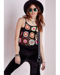 f6646fc4073d5 Missguided Crochet Multi Colour Crochet Crop Top - Lyst