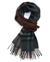 Burberry | Gray Check Cashmere Scarf for Men | Lyst