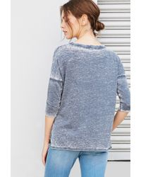 Forever 21 | Blue Burnout Knit Boxy Top | Lyst