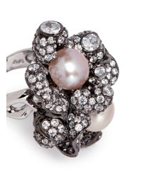 Anabela Chan - Pink 'blossom Pearl' Diamond Pavé 18k Black Gold Ring - Lyst