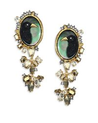 Alexis Bittar | Green Elements Dark Alchemy Raven Cameo Semi-precious Multi-stone Clip-on Drop Earrings | Lyst