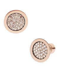 Michael Kors Metallic Rose Gold-Tone Pave Slice Stud Earrings