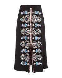 Vilshenko - Black Wool Embroidered Imogen Skirt - Lyst