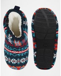 ASOS - Blue Slipper Boots In Fairisle With Warm Linings for Men - Lyst