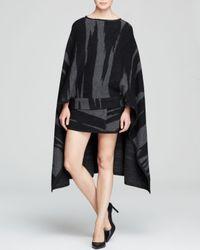 DKNY - Black Tiger Print Wool Cape - Lyst