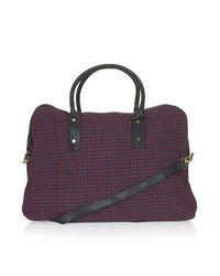 TOPSHOP - Purple Dogtooth Woven Luggage Bag - Lyst