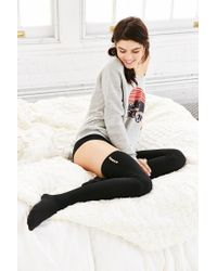 Urban Outfitters | Black Lightweight Button Thigh-high Thermal Sock | Lyst