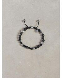 John Varvatos | Black Lava and Sterling Silver Bead Bracelet for Men | Lyst