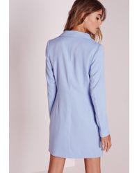 Missguided Long Sleeve Blazer Dress Blue