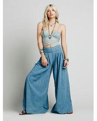 Free People Blue Womens Everleigh Slit Wideleg
