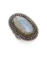 Bavna | Metallic Labradorite, Champagne Diamond & Sterling Silver Ring | Lyst