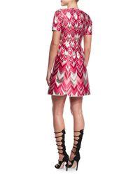 Giambattista Valli - Pink Chevron-striped Metallic Jacquard Dress - Lyst