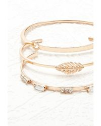 Forever 21 | Metallic Feather Cuff And Bracelet Set | Lyst