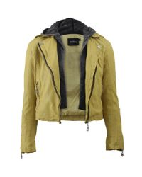 Doma Leather - Green Detachable Hood Leather Moto Jacket - Lyst