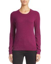 Lord & Taylor Purple Petite Basic Crew Neck Cashmere Sweater