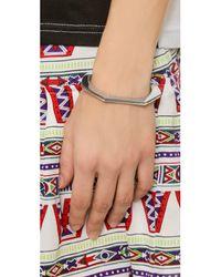 Giles & Brother Metallic Skinny Hex Cuff Bracelet - Rhodium