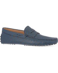 Tod's Blue Dice-Print Penny Loafers - For Men for men