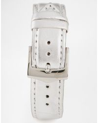 Lipsy | Metallic Watch with Silver Leather Look Strap | Lyst