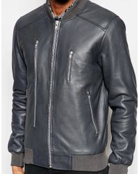 Blackdust Gray Leather Bomber Jacket With Zip Detailing for men