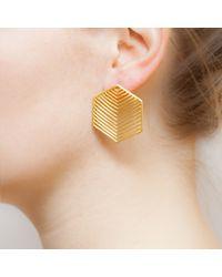 Kastur Jewels Metallic Art Deco Heritage Hexagon Earrings