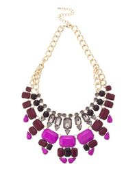 Oasis | Purple 2 Row Jewelled Necklace | Lyst