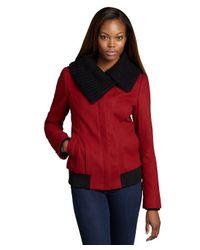SOIA & KYO | Red Wool Blend Pippa Knit Collar Jacket | Lyst