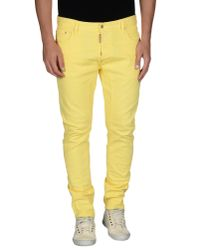 DSquared² - Yellow Denim Trousers for Men - Lyst