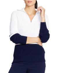 Lauren by Ralph Lauren Blue Color-blocked Cotton Pullover