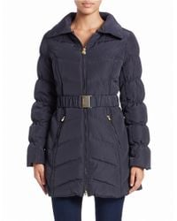 Laundry by Shelli Segal | Blue Convertible Faux Fur-trimmed Belted Coat | Lyst