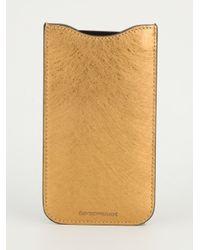 Emporio Armani - Brown Calf Leather Phone Case - Lyst