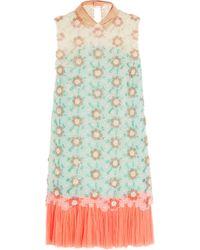 Delpozo - Blue Embellished Silk-organza Mini Dress - Lyst