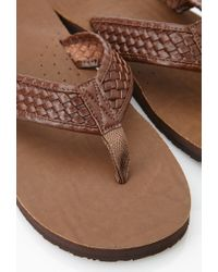 Forever 21 Brown Basket Woven Flip Flops for men