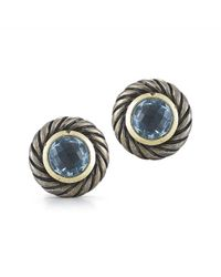 David Yurman - Metallic Pre-owned 18k Yellow Gold and Silver Topaz Round Cable Earrings - Lyst