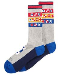 Sperry Top-Sider - Gray Men's Nautical Flags Specialty Crew Socks for Men - Lyst