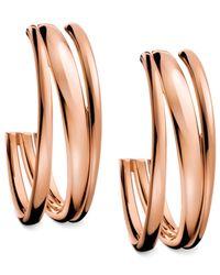 Calvin Klein | Pink Rose Gold Pvd Multirow Hoop Earrings | Lyst