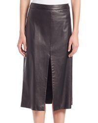 Tess Giberson - Black Leather Slit Skirt - Lyst