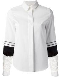 Chloé White Lace Sleeve Shirt