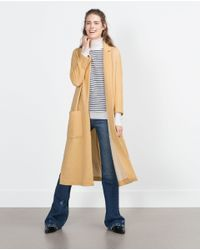 Zara | Yellow Long Coat | Lyst