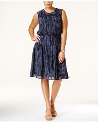 Michael Kors | Blue Michael Sleeveless Printed A-line Dress | Lyst
