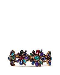 Erickson Beamon Multicolor 'hyperdrive' Swarovski Crystal Floral Cluster Bangle