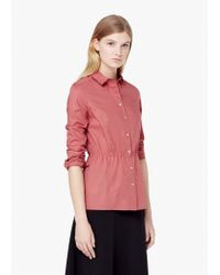 Mango   Pink Elastic Waist Shirt   Lyst