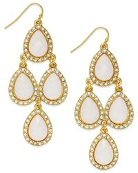 INC International Concepts | Metallic Gold-tone White Teardrop Chandelier Earrings | Lyst