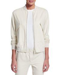Brunello Cucinelli - White Zip-Front Stretch-Cotton Varsity Jacket - Lyst