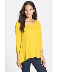 Eileen Fisher - Yellow Scoop Neck Organic Linen Top - Lyst