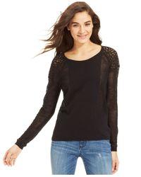 DKNY - Black Long-Sleeve Mesh Lace Sweater - Lyst