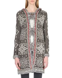 Free People | Brown Pom Pom Hooded Knitted Cardigan - For Women | Lyst