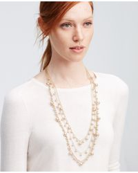 Ann Taylor | Metallic Pearlized Layered Necklace | Lyst